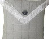 SALE -- Grey Plaid Linen Pillow