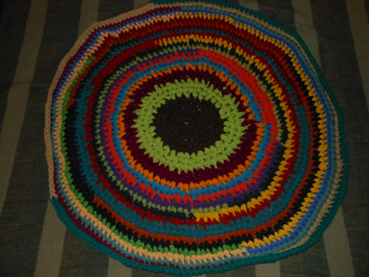 bright multi colored round crochet rag rug. Black Bedroom Furniture Sets. Home Design Ideas