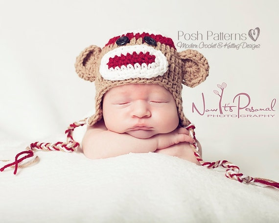 Free Crochet Pattern Sock Monkey Hat For Baby : Crochet Pattern Sock Monkey Hat Crochet Pattern Crochet