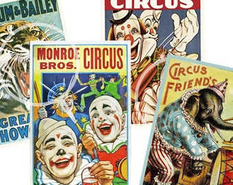 Circus Vintage Style Posters Printable Clown Party Decoration Card, Gift Tags, Scrapbook Supplies, Birthday Party, Tags,
