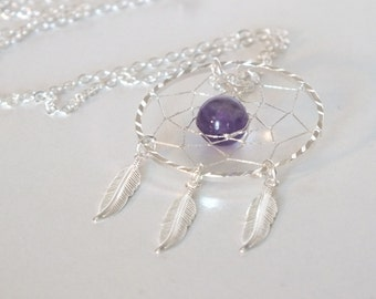Amethyst Native American Inspired Dreamcatcher Necklace