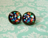 20 % OFF - Black Multicolor Heart Shape Sparkle Light Firework Cabochon Stud Earrings,Earring Post,Cute Gift Idea