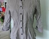 Vintage Black and White Striped Peplum Button Down Shirt M