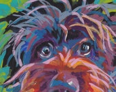 """Wirehaired pointing griffon print of pop art dog painting bright colors 13x19"""" portrait"""