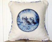 "shabby chic, feed sack, french country, delft Lhasa Apso graphic with toile welting 14"" x 14"" pillow sham."