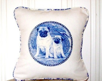 "shabby chic, feed sack, french country, delft Pug pair graphic with toile welting 14"" x 14"" pillow sham."