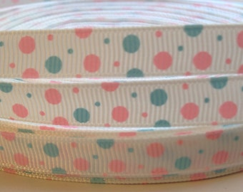 3/8 Pink and Blue Dots Ribbon-3 Yards