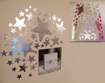 Mirror Star Wall Stickers 1 sheet of A4