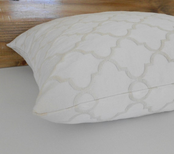 Ivory and natural moroccan embossed decorative pillow cover