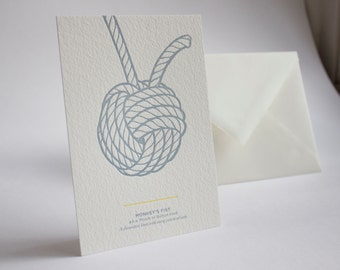 Letterpress Knot Postcard - Monkey's Fist.