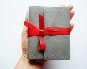 Little Red Writing Hood-Grey Leather-Journal-Mini-Handmade-Gift Idea