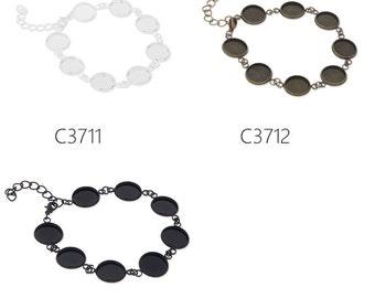 5PCS new design fit 12mm round cabochons bracelet with 8pcs 12mm bezels