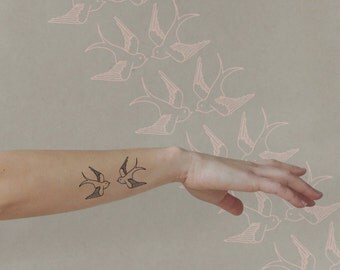 Swallow Temporary Tattoo set of two