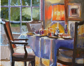 BREAKFAST TABLE, art print of an original, oil on canvas, dining room,  Interior painting, Yellow and purple, window view, chandelier, art