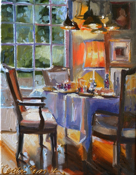 Breakfast table art print of an original oil on canvas for Art painting for dining room