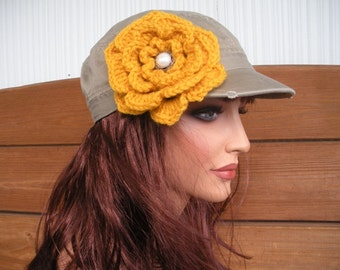 Womens Hat Baseball Cap Summer Fashion Accessories Women Distressed Cadet Hat Khaki with Gold Crochet Flower