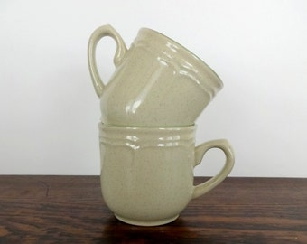 Pair of Vintage Pale Green Stoneware Mugs | Made in Japan