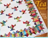Tea Basket Quilt Pattern, Modern Quilt Pattern, Scrap Quilt Pattern, Easy Quilt Pattern, PDF, qtm, immediate download