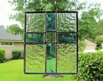 Blue Bevel Cross Panel - Clear Granite Glass
