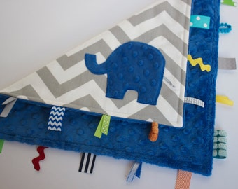 Chevron elephant lovey lovie blanket, sensory blanket toy, royal electric cobalt blue grey gray, modern baby boy gift