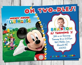 Mickey Mouse Invitation Printable, Mickey Mouse Invitation Digital, Mickey Invitation, Mickey Mouse Invites, Oh Twodles Invitation
