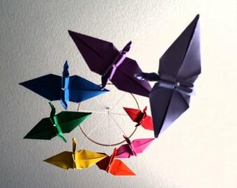 Rainbow Origami Crane Spiral Mobile