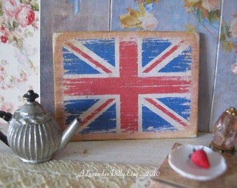 Weathered Union Jack Sign for Dollhouse