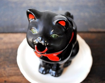 Vintage Black Cat Milk Pitcher Jug, Retro Green Eyes Shafford Collectible Decor