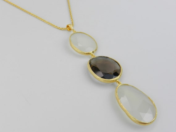 18K Yellow Gold over Sterling Silver Smokey Topaz & White Onyx Pendant Necklace Adjustable