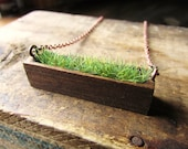 Wood and Grass Necklace Faux Grass Long Wood Rectangle Bezel Planter Necklace