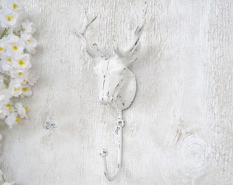 Deer Head Hook,Antlers,Cast Iron Hook,Shabby Chic
