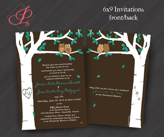 Wedding/Shower/Anniversary Invitations: Carved Tree, Owls, Spring, Summer, Love, Teal, Brown. Samples/Printing/Digital Files all Available
