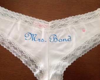 Personalized Honeymoon, Bachelorette, or Wedding panties for the Bride
