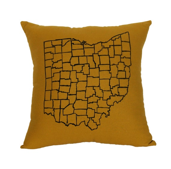 Honey Gold Throw Pillow : Ohio Counties Honey Gold Oversized Throw Pillow by APEMADE
