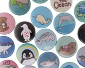Sea Creatures - Pick your 4 Magnets - Refrigerator Magnets - Penguin, Shark, Dolphin, Manatee, Cuttlefish, Otter, Octopus, Sea Turtle, Fish