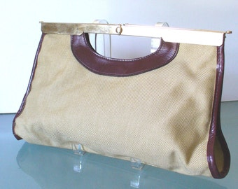 Vintage Letisse  Canvas and Oxblood Leather Clutch Bag