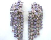 Reserved listing Vntg Purple Chandelier Earrings ~ Waterfall ~ Rare Color Combination ~ Rhinestones ~