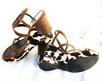Open Toe Cowgirl Chic Western Wedges Strappy Sandals Heels Pony Hair ~ Cow