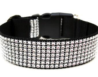 "Rhinestone Dog Collar 1.5"" Silver Dog Collar SIZE MEDIUM Ready To Ship"