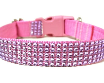 "Pink Rhinestone Dog Collar 1"" Purple Dog Collar"