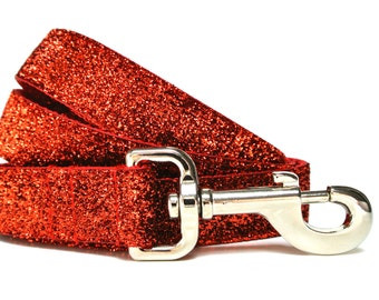 "Red Glitter Leash 1"" Red Dog Leash"