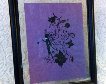 Pen and Ink Fairy in Double Glass Frame
