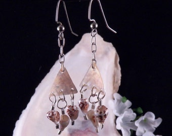Shell Earrings - Mother of Pearl Earrings - Shell Chandelier Earrings - Earth Tone Handmade Costume Jewelry - Free Shipping Made in USA