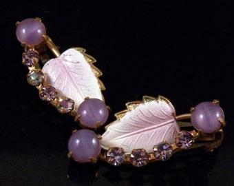 Vintage Clip On Earrings - Purple Earrings - Swarovski Crystal Earrings - Enamel Leaf Cabochons Earrings - Costume Jewelry - Made in Austria