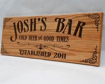 Man cave bar sign - Personalized - Pub sign - Business signage - Valentine Gift for him Groomsman gift
