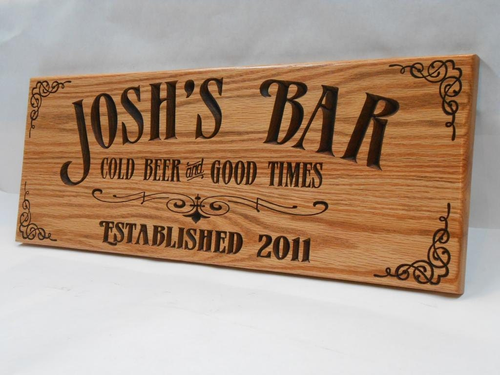 Engraved Man Cave Signs : Man cave bar sign personalized pub business signage