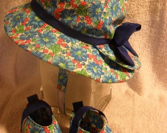 Infants hat and Shoes / small / blue flowers / OOAK