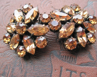 Vintage Brass Rhinestone Earrings