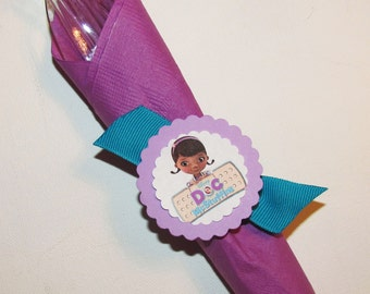 doc mcstuffins birthday party 12 ri bbon napkin rings custom made to