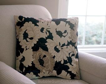 Home Decor Floral Pillow Cover black beige cream 20x20 pillow Cushion Cover